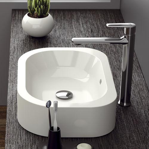 mitigeur pour vasque / en laiton chromé / 1 trou