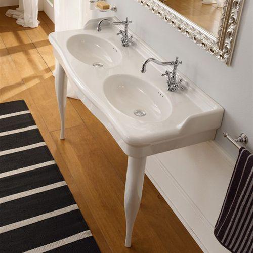 vasque double / suspendue / ovale / en céramique