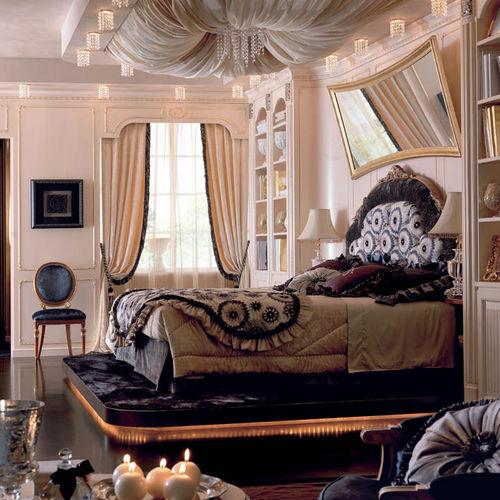 lit double / classique / tapissé / avec tête de lit tapissée