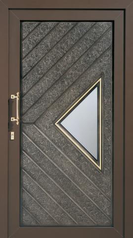 porte d'entrée / battante / en aluminium / semi-vitrée