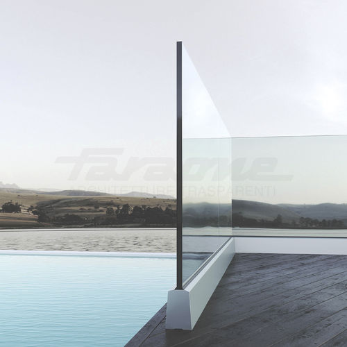 garde-corps en aluminium / en verre / à panneaux en verre / d'extérieur