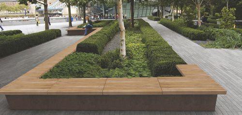 jardinière en acier corten / en bois / rectangulaire / ronde
