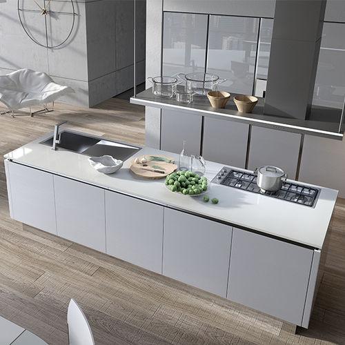 cuisine contemporaine / en aluminium / en verre / en stratifié