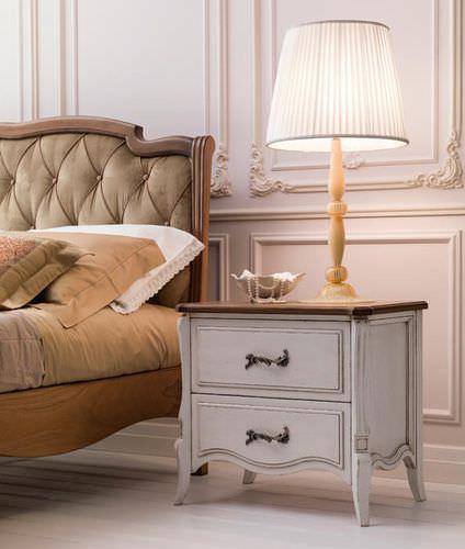 table de chevet de style / en marbre / rectangulaire