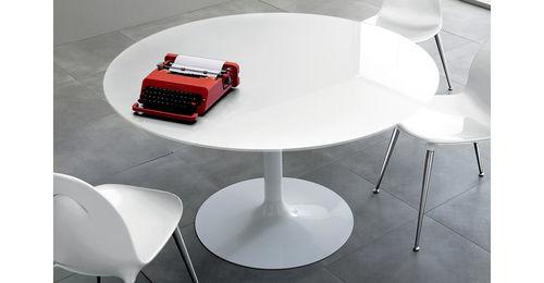 table contemporaine / en verre / ronde