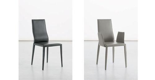 chaise contemporaine / tapissée / en cuir
