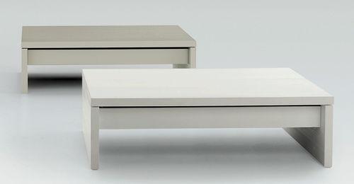 table contemporaine / en bois laqué / rectangulaire / hauteur réglable