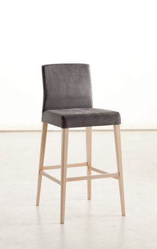 chaise de bar contemporaine / tapissée / en bois