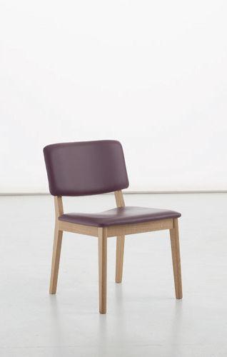 chaise contemporaine / tapissée / en bois / en cuir