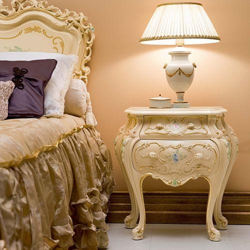 table de chevet de style / en bois / rectangulaire / pour hôtel