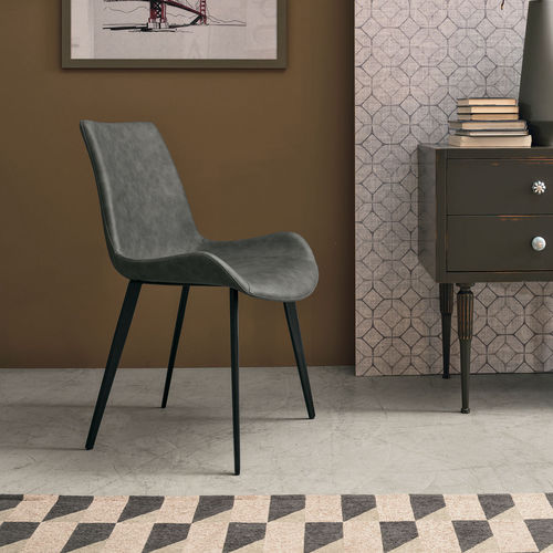 chaise contemporaine / tapissée / en cuir / en métal peint