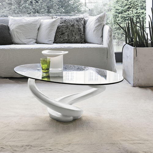 Table basse contemporaine / en verre trempé / ovale / transparente TANGO Target Point New