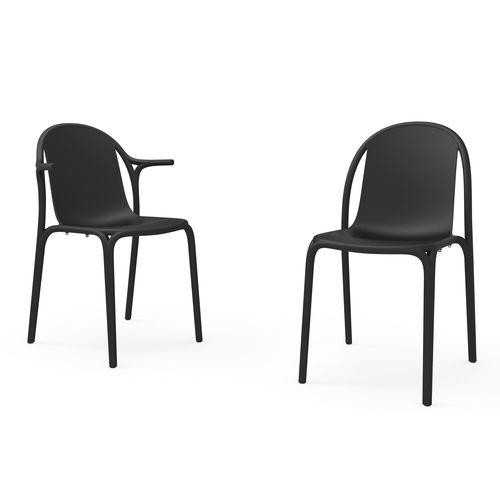Chaise de jardin contemporaine / empilable / en polypropylène / en fibre de verre BROOKLYN by Eugeni Quitllet VONDOM