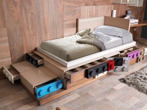 lit double / contemporain / pour enfant (unisexe) / combiné