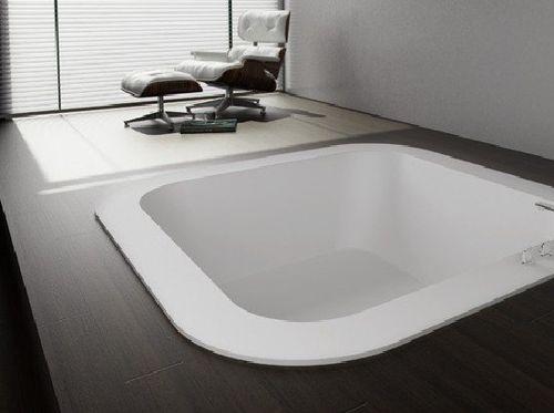 baignoire carrée / en acrylique / hydromassage / pour chromothérapie