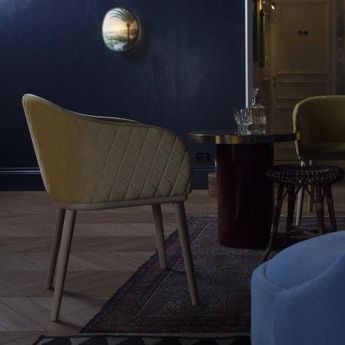 fauteuil contemporain / en hêtre / en tissu / en cuir