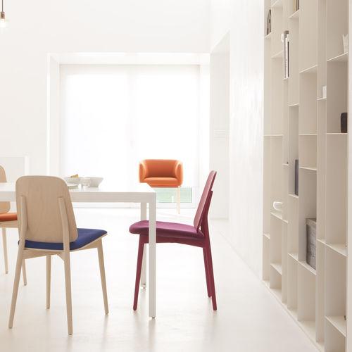 Chaise contemporaine / en bois / tapissée / rose NEST 473 by Producks Design Studio TEKHNE S.r.l.
