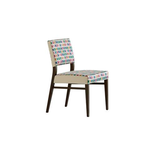 chaise contemporaine / tapissée / en hêtre / en tissu