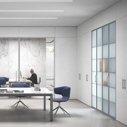 mur de rangement pour bureau / en verre