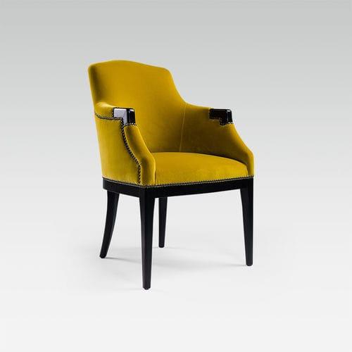 chaise de restaurant classique / tapissée / avec accoudoirs / en tissu