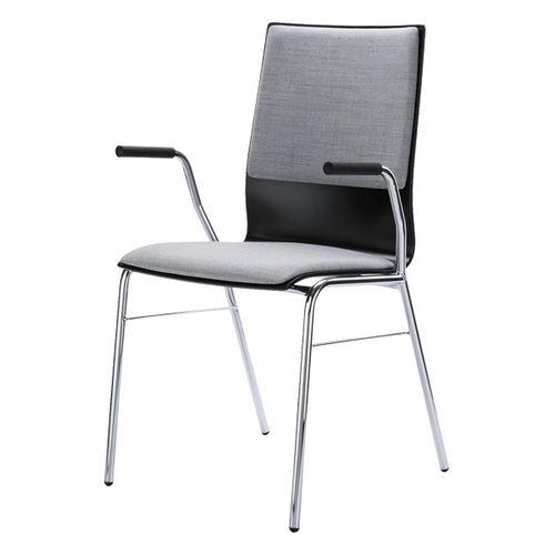 chaise visiteur contemporaine / empilable / avec accoudoirs / tapissée