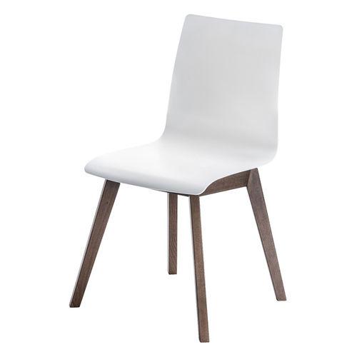 chaise visiteur contemporaine / tapissée / en plastique / en bois