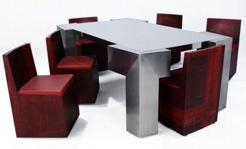 Ensemble table et chaises design original / en acier / en acier ...