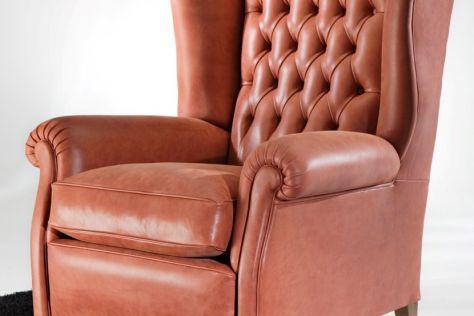 fauteuil chesterfield / en cuir / à dossier haut / bergère