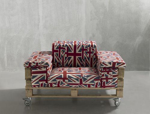 fauteuil de style industriel / en textile / à roulettes / avec accoudoirs
