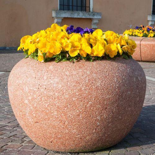 jardinière en marbre / en pierre naturelle / ronde / contemporaine
