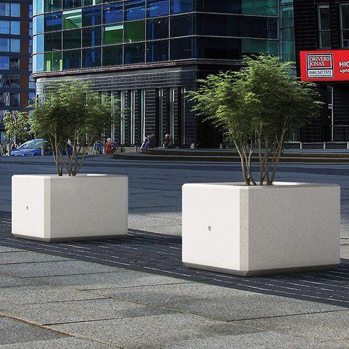 jardinière en marbre / en pierre naturelle / carrée / contemporaine