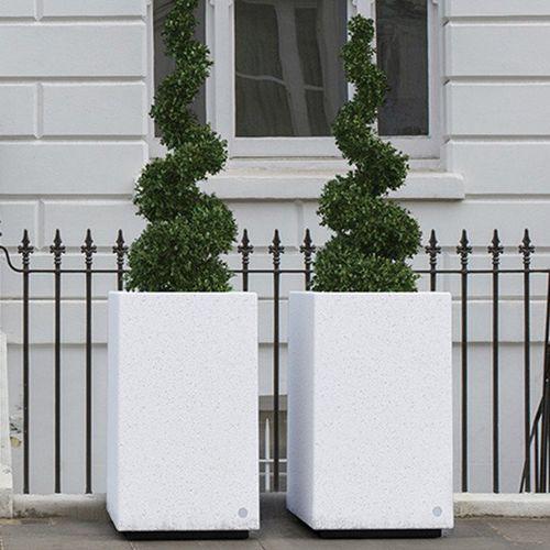 jardinière en marbre / en pierre naturelle / rectangulaire / carrée