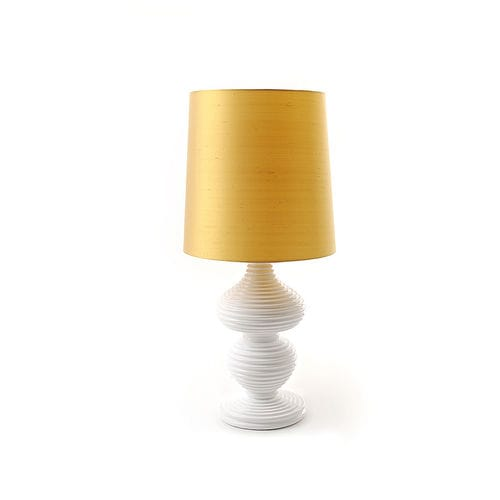 lampe de table / contemporaine / en soie / en chêne