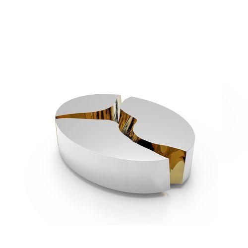 table basse design original / en bois / en laiton poli / ovale