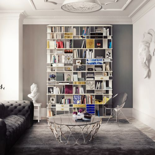 bibliothèque modulable / design original / en bois / en MDF