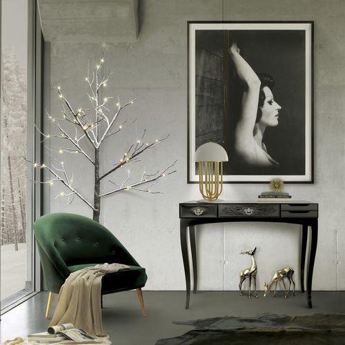 console contemporaine / en bois laqué / en plaqué bois / rectangulaire