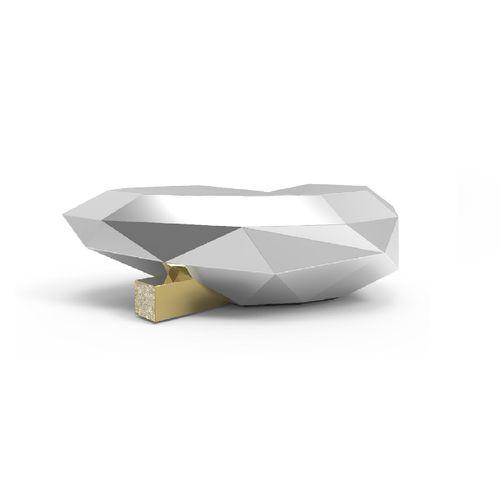 table basse design original / en bois / en laiton / en marbre