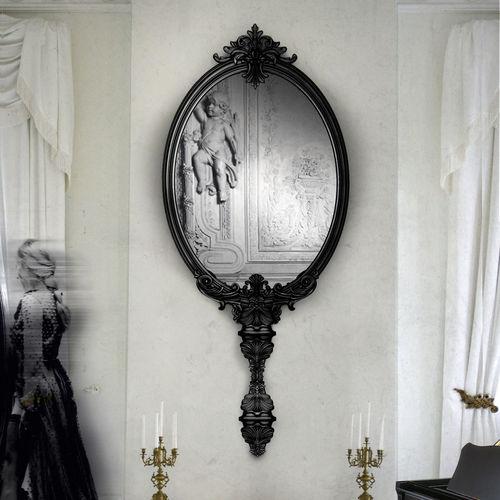 miroir mural / design nouveau baroque / en acajou