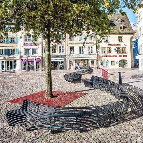 Banc public / contemporain / en acier / avec dossier CIRCULAR by Lucile Soufflet Tolerie Forezienne