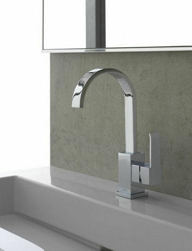 mitigeur pour vasque / en métal chromé / en nickel / 1 trou