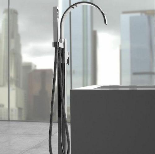 mitigeur pour baignoire / au sol / en métal chromé / en nickel