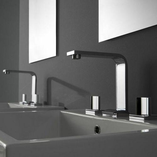 mélangeur pour vasque / mural / en nickel / en métal chromé