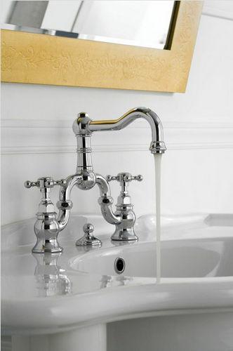 mélangeur pour vasque / à poser / en nickel / en métal chromé