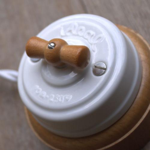 interrupteur rotatif / en bois / en porcelaine / de style industriel