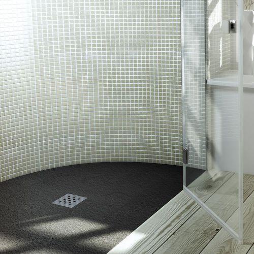 receveur de douche en acier inox / en ardoise / sur mesure