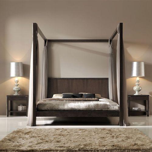 lit à baldaquin / double / contemporain / avec tête de lit