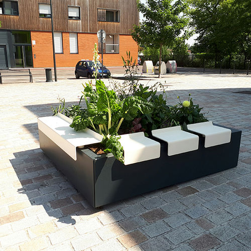 jardinière en acier / en acier thermolaqué / carrée / contemporaine