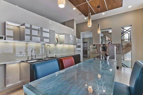 comptoir de cuisine / en verre / droit / en L