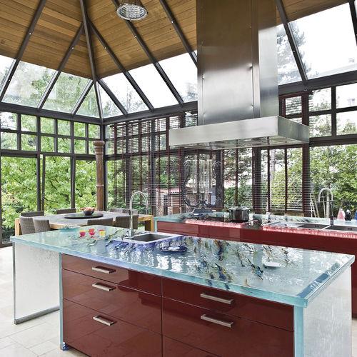 plan de travail en verre / de cuisine / résistant à la chaleur / antiabrasion