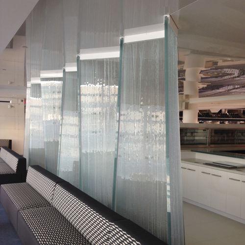 cloison amovible / fixe / coulissante / en verre